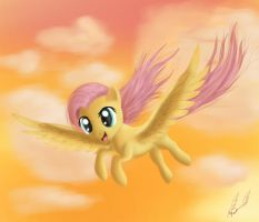Fluttershy flying in sunset by Miokomata