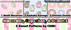 Macarons, Cupcakes, and Donuts Patterns by CNM by Crystal-Moore