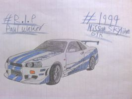 PW Tribute Drawing #3: 1999 Nissan Skyline GTR by ShiftyGuy1994