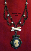 Victorian Cameo Bow Necklace by BloodRed-Orchid