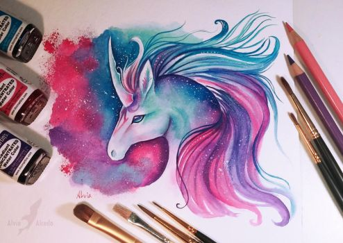 Space unicorn by AlviaAlcedo