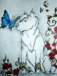 [Indian Ink] Wolf and butterflies ... by BlackDragon07