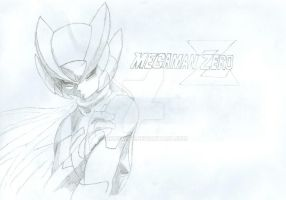 Megaman Zero Drawing and Logo by XionsMist