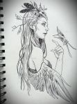 The Awakening of the Feathered Maiden by JowieLimArt