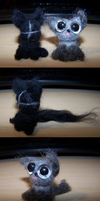 Wool Felting: Little Zippers and Pebbles kitties by GingaAkam