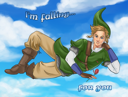 Link is falling by Blackash