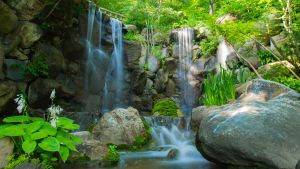 Main Waterfall at Anderson Japanese Gardens by MRHPhoto
