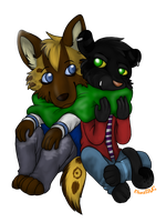 Comission: Cuddle by KitsuneRAWR4