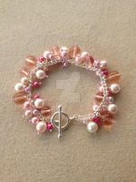 Cluster Bracelet - Light Pink/Cream by WhiteMagicPriestess