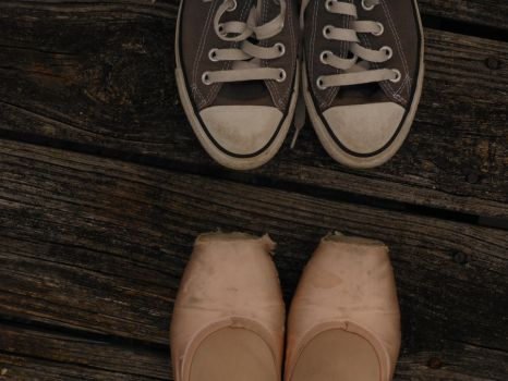 converse meet pointe shoes by BlueEyedKat