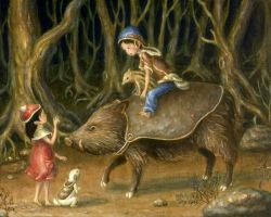 A puppy and a family of boars by perodog