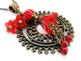 FOR SALE Necklace - Red Circle by Benia1991