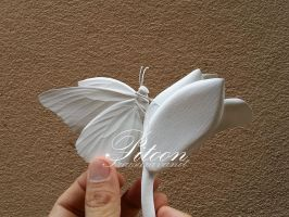 White Paper Sculpture Butterfly by 8thLeo