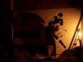 Messi Street Art -Painting at the Night- by Johnny-Aza
