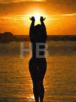 sunset silhouette 002a oil HB593200 by hb593200