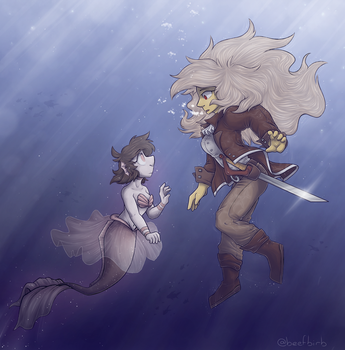 Mermaid/Pirate Au by BeefBirb