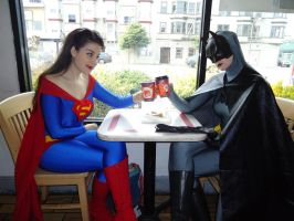 Supes and Bats's coffee date by miss-kitty-j