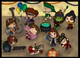 Halloween party colored by Fallonkyra