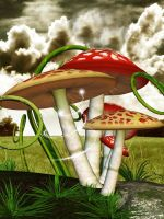 Toadstool background by Charmedstar07