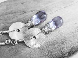 Light Amethyst Czech Glass Wire Wrapped Earrings by crystaland