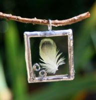 Dusky Yellow Feather Pendant by mermaidencreations