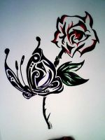 abstract butterfly rose by Poke-him-on