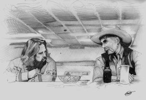Sam Elliott and The Dude COMMISSION by JTIllustrations