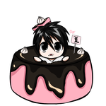 It's Chibi L in a little cake! by RoxieTheDerp