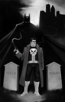 Punisher and Batman Cover by electronicron