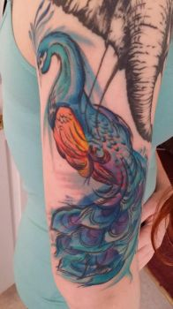 watercolor peacock tattoo by dayblush