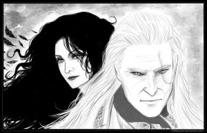 Witcher and enchantress by 1995Paint