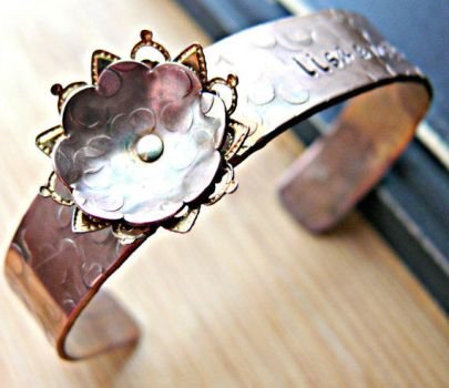 copper and filligree personalized cuff bracelet by yourcharmedlife