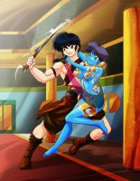 Akane rescued by Ranma by AndronicusVII