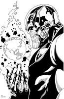 Thanos the Dark Titan Inked by TyndallsQuest
