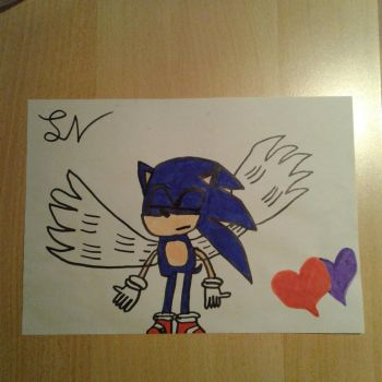 Sonic with Angel wings by sonicthehedgehogFG