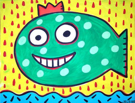 grinning crown fish 22x28 by jeleneart