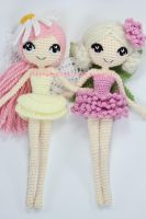 Althaena and Chrysanna Fairy Crochet Dolls by Npantz22