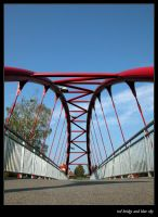 red bridge and blue sky by stonie
