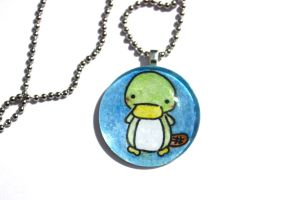 Hand Drawn Glass Platypus Pendant by PinkChocolate14