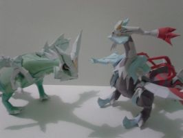 the two new kyurem v2  papercraft by javierini