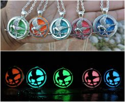 Glow in the dark mockingjay necklace silver style by Saloscraftshop