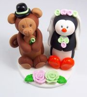 Monkey and Penguin Wedding Cake Topper by HeartshapedCreations