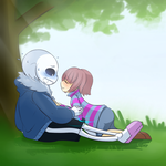 Sans X Frisk by Caguiat233