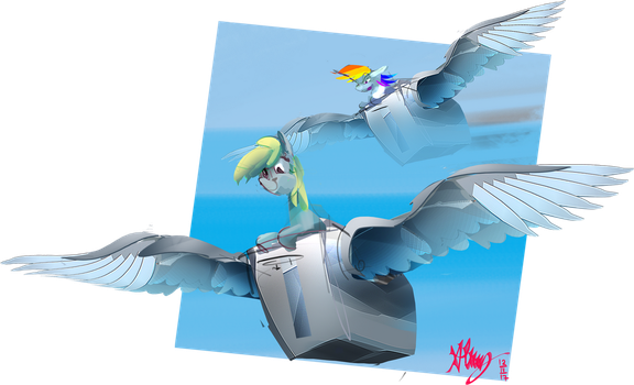 Ponies flying flying toasters by Alumx