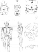 Kamen Rider Gaim Captain America Arms Sketch by CJHibari02