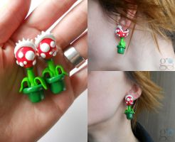 Piranha Plant Earrings by GemDeDude