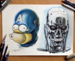 Homer as Captain America and T-800 by AtomiccircuS
