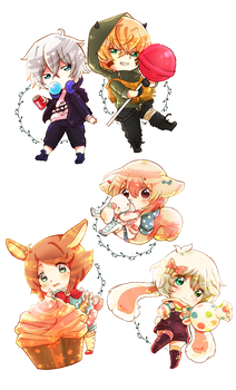 Chibi Set 4 .:Commission:. by GYRHS