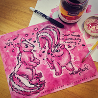 Beet Juice Painting: Love Skunks by OdieFarber