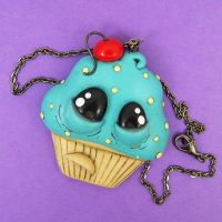 Sad Cupcake Necklace by beatblack